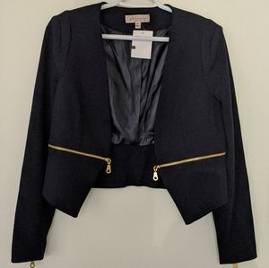 Philosophy cropped jacket with gold zipper